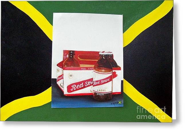 Bottle Cap Paintings Greeting Cards - Jamaica National Beer Greeting Card by Kenneth Harris
