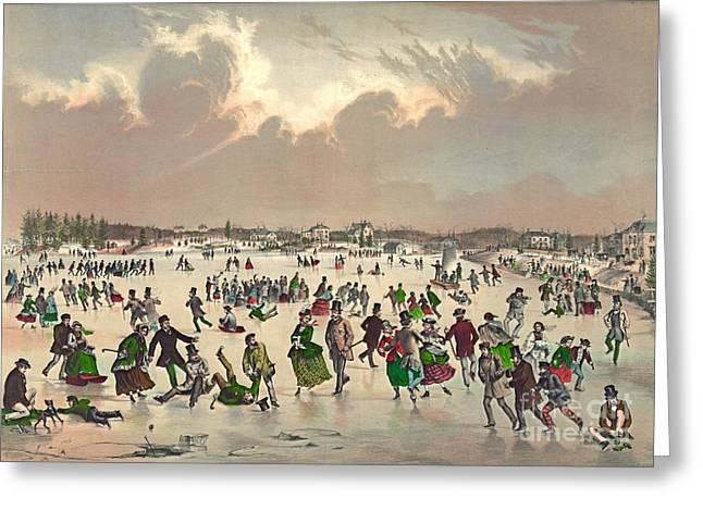 Roxbury Greeting Cards - Jamaica Pond Massachusetts 1859 Greeting Card by Padre Art