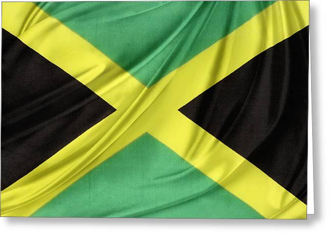 Waving Flag Greeting Cards - Jamaican flag Greeting Card by Les Cunliffe