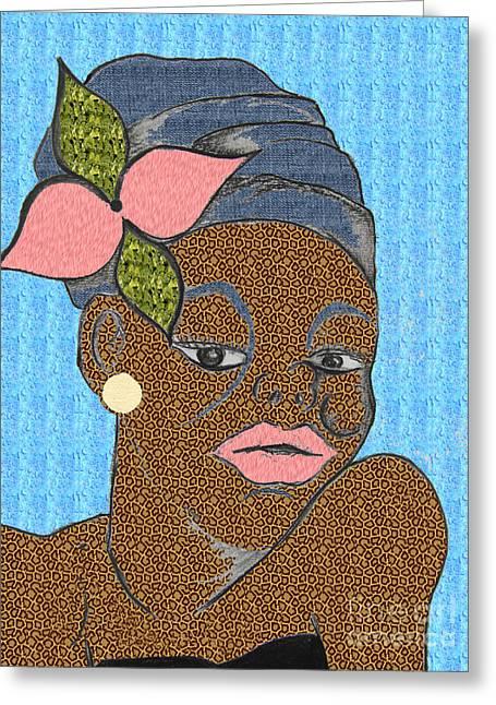 Headshot Drawings Greeting Cards - Jamaican Girl Leopard Print2 Greeting Card by Karen Larter