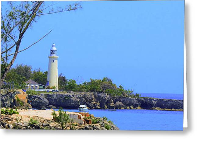 Becky Greeting Cards - Jamaican LightHouse by Steve Ellenburg Greeting Card by Steve Ellenburg