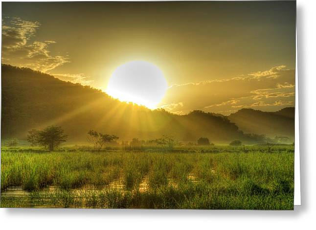 Jamaican Sunset Greeting Cards - Jamaican Sunrise Greeting Card by William Teed