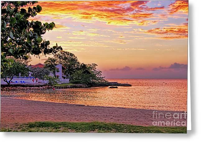 Jamaican Sunset Greeting Cards - Jamaican Sunset Greeting Card by Olga Hamilton