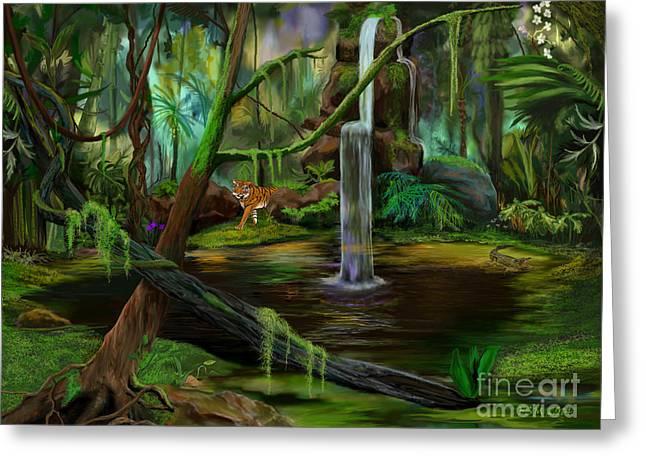 Jambalaya Greeting Cards - Jambalaya Jungle Greeting Card by Frances McCloskey