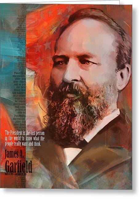 Garfield Greeting Cards - James A. Garfield Greeting Card by Corporate Art Task Force