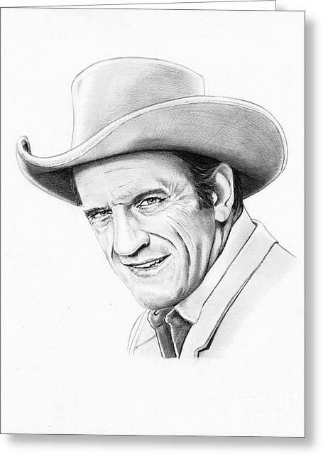Western Pencil Drawings Greeting Cards - James Arnes Greeting Card by Murphy Elliott