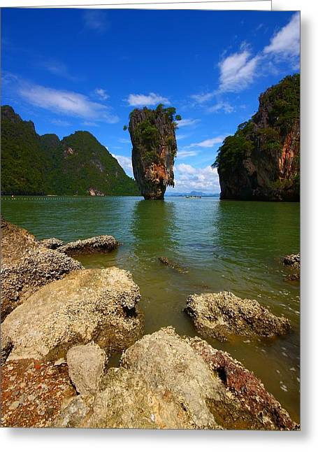 Verticle Greeting Cards - James Bond Island Greeting Card by FireFlux Studios
