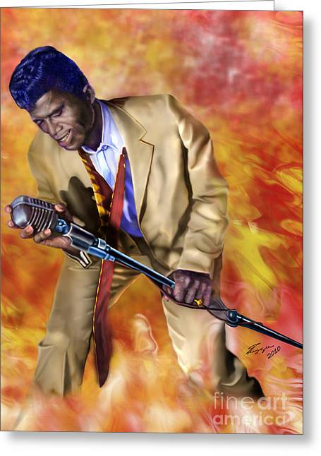 Super Stars Greeting Cards - James Brown and His Famous Flames Greeting Card by Reggie Duffie