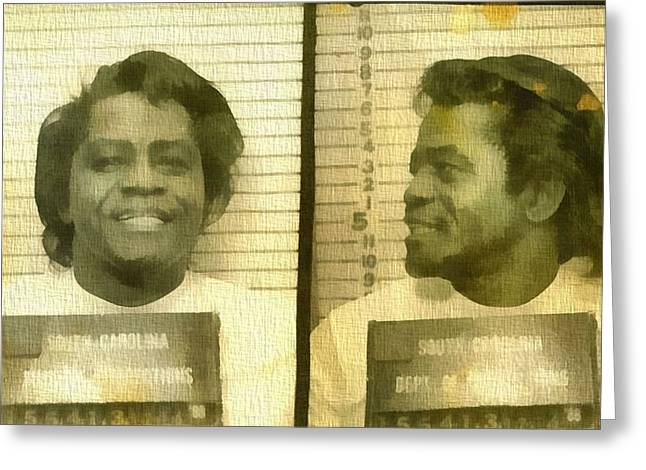 I Feel Greeting Cards - James Brown Mug Shot Greeting Card by Dan Sproul