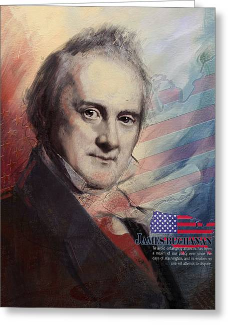Jefferson Paintings Greeting Cards - James Buchanan Greeting Card by Corporate Art Task Force