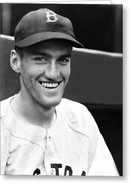 Boston Red Sox Greeting Cards - James C. Bagby Jim, Jr. Greeting Card by Retro Images Archive