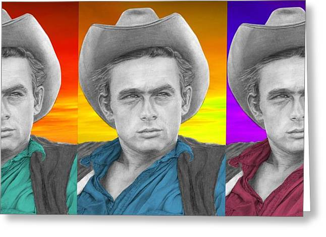 James Dean Drawings Greeting Cards - James Dean - 3up One Print Greeting Card by Alexander Gilbert