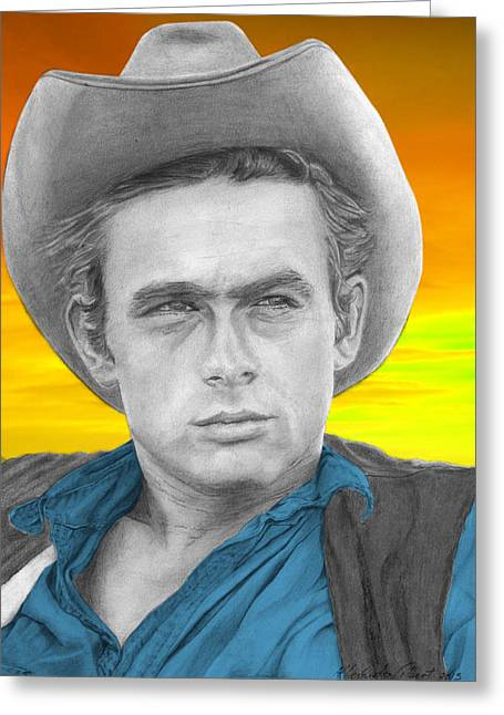 James Dean Drawings Greeting Cards - James Dean - Individual Blue Greeting Card by Alexander Gilbert