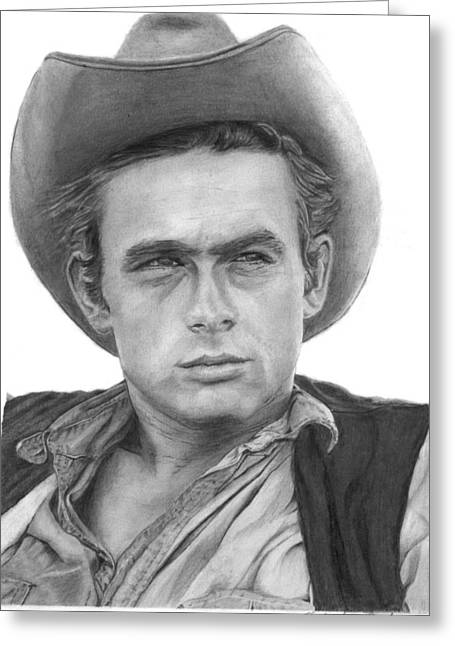James Dean Drawings Greeting Cards - James Dean - Pencil Greeting Card by Alexander Gilbert