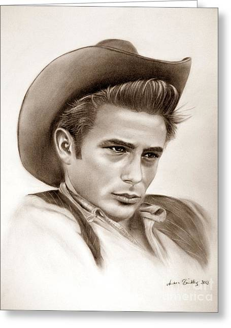 James Dean Drawings Greeting Cards - James Dean Greeting Card by Andrea Binkley