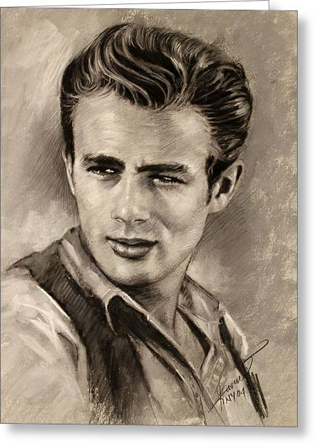 James Dean Drawings Greeting Cards - James Dean Greeting Card by Viola El
