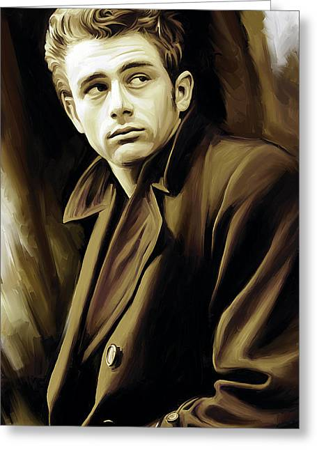Celebrity Mixed Media Greeting Cards - James Dean Artwork Greeting Card by Sheraz A