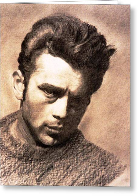 James Dean Drawings Greeting Cards - James Dean Greeting Card by Derrick Parsons