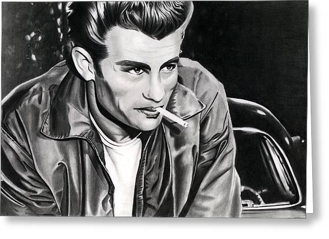 James Dean Prints Drawings Greeting Cards - James Dean Greeting Card by Cool Canvas
