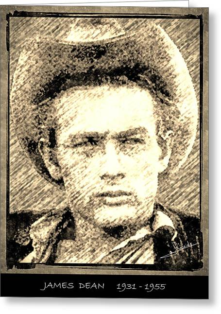 James Dean Drawings Greeting Cards - James Dean Greeting Card by George Rossidis