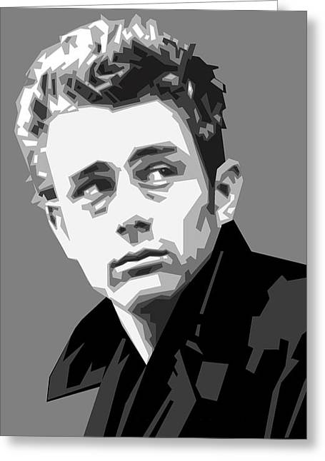 James Dean Greeting Cards - James Dean in Black and White Greeting Card by Douglas Simonson