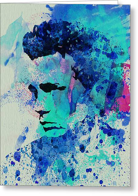Film Watercolor Greeting Cards - James Dean Greeting Card by Naxart Studio