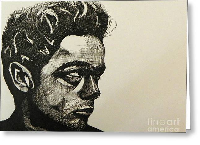 James Dean Drawings Greeting Cards - James Dean  Greeting Card by Ken Nguyen