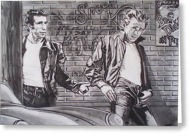 T Shirts Drawings Greeting Cards - James Dean Meets The Fonz Greeting Card by Sean Connolly