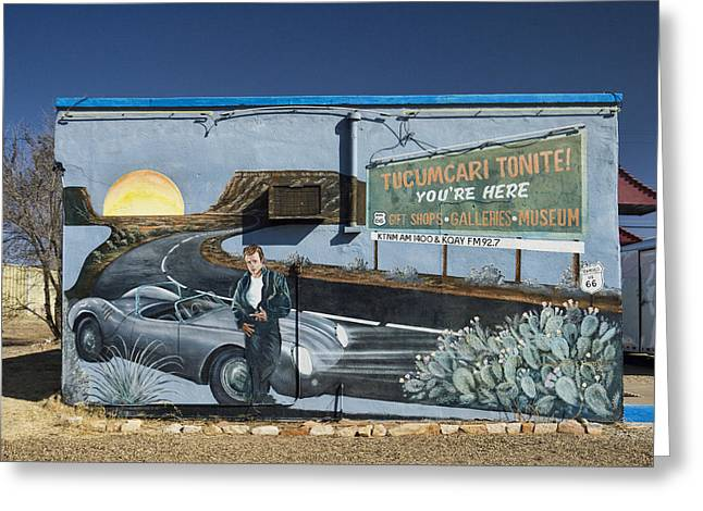 James Dean Greeting Cards - James Dean Mural in Tucumcari on Route 66 Greeting Card by Carol Leigh