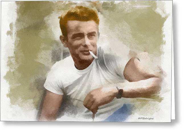 Paulette Wright Digital Art Greeting Cards - James Dean Greeting Card by Paulette B Wright