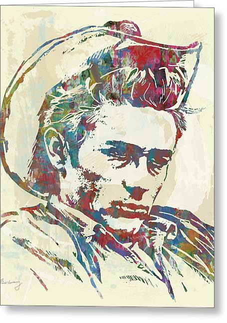In Trouble Greeting Cards - James dean  - Stylised Etching Pop Art Poster Greeting Card by Kim Wang