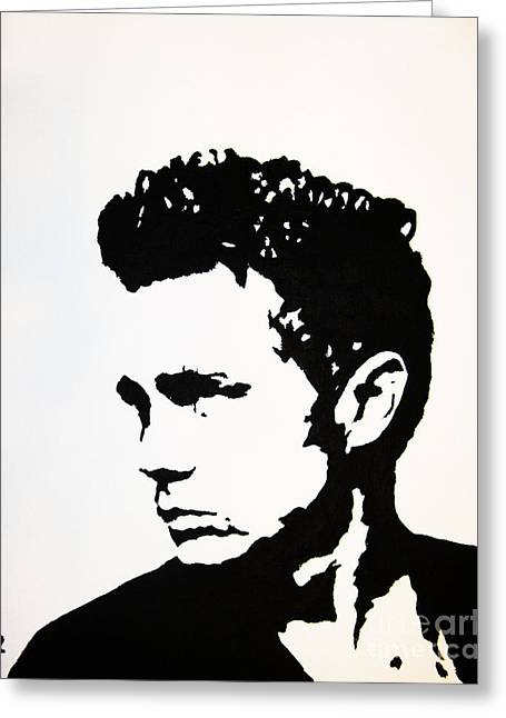 Black And White Images Mixed Media Greeting Cards - James Dean Greeting Card by Venus