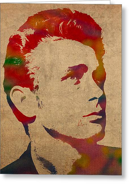 James Dean Greeting Cards - James Dean Watercolor Portrait On Worn Distressed Canvas Greeting Card by Design Turnpike