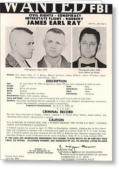Martin Luther King Mixed Media Greeting Cards - James Earl Ray FBI Wanted Poster 1968 Greeting Card by Mountain Dreams