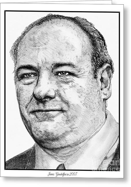 Fame Drawings Greeting Cards - James Gandolfini in 2007 Greeting Card by J McCombie