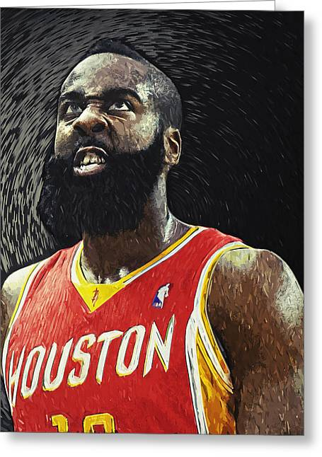 Nba All Star Game Greeting Cards - James Harden Greeting Card by Taylan Soyturk