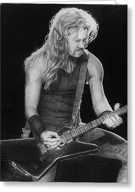 Metallica Drawings Greeting Cards - James Hetfield Greeting Card by Anthony DeCilio