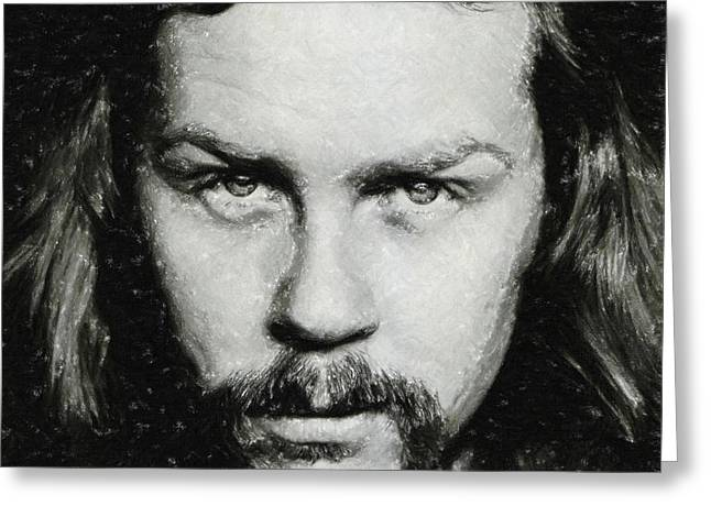 Live Music Pastels Greeting Cards - James Hetfield Greeting Card by Antony McAulay