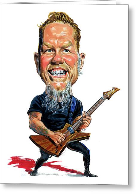 Metal Art Greeting Cards - James Hetfield Greeting Card by Art
