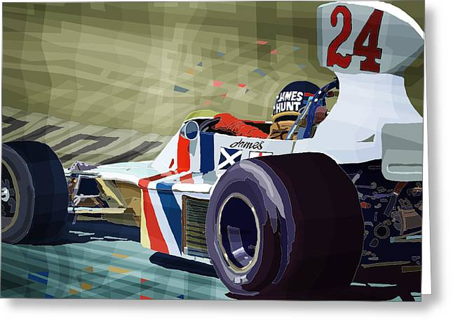 James Hunt 1975 Hesketh 308b Greeting Card by Yuriy Shevchuk