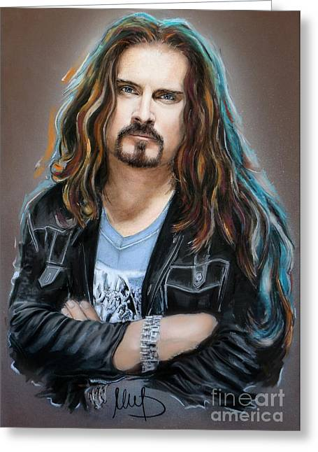 Hard Rock Mixed Media Greeting Cards - James LaBrie Greeting Card by Melanie D