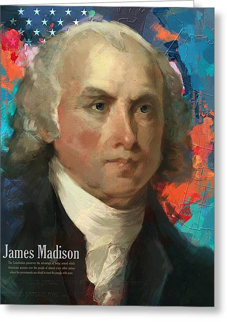 James Madison Greeting Cards - James Madison Greeting Card by Corporate Art Task Force