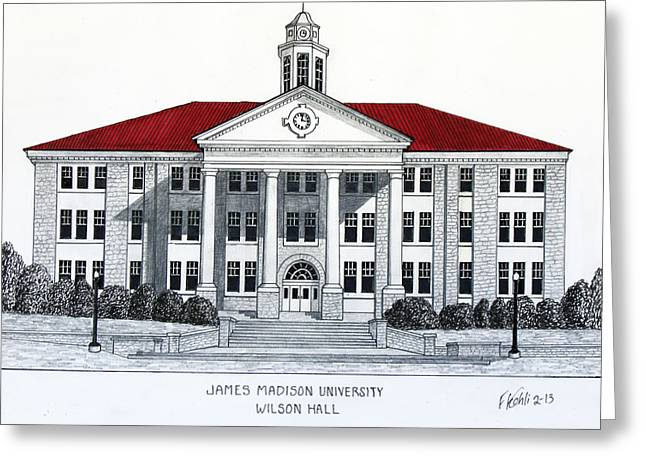 College Campus Buildings Drawings Greeting Cards - James Madison University Greeting Card by Frederic Kohli