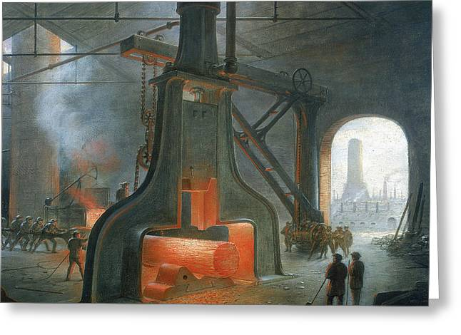 Machine Paintings Greeting Cards - James Nasmyths steam hammer Greeting Card by James Nasmyth