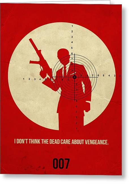 Secret Agent Greeting Cards - James Poster Red 1 Greeting Card by Naxart Studio
