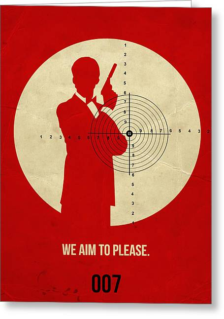Secret Agent Greeting Cards - James Poster Red 2 Greeting Card by Naxart Studio