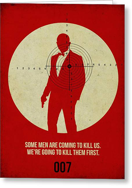 Secret Agent Greeting Cards - James Poster Red 3 Greeting Card by Naxart Studio