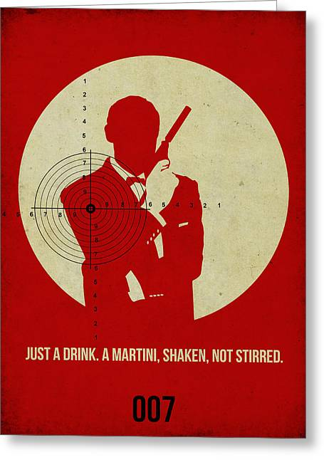 Secret Agent Greeting Cards - James Poster Red 4 Greeting Card by Naxart Studio