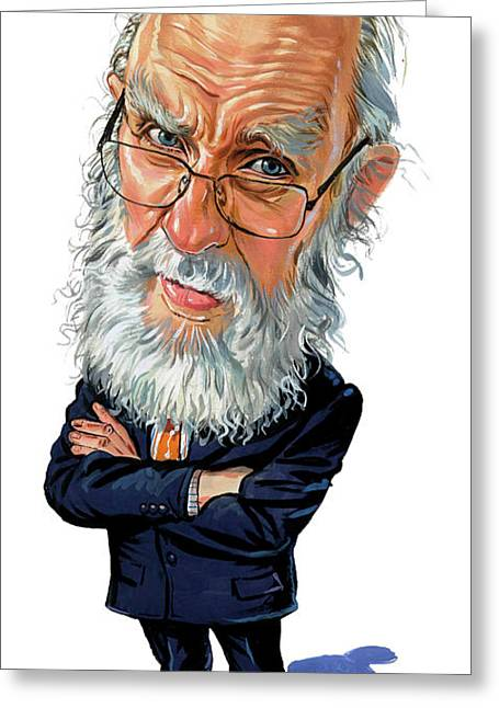Caricature Paintings Greeting Cards - James Randi Greeting Card by Art