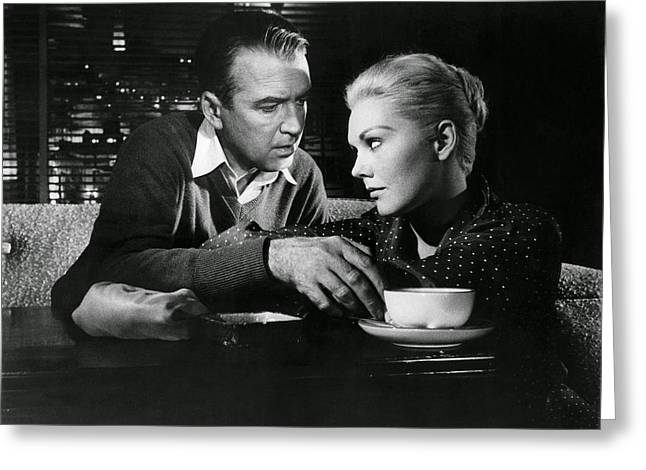 Vertigo Greeting Cards - James Stewart and Kim Novak - Vertigo Greeting Card by Nomad Art And  Design
